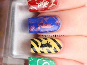 Harry Potter Hogwarts' Houses skittle manicure