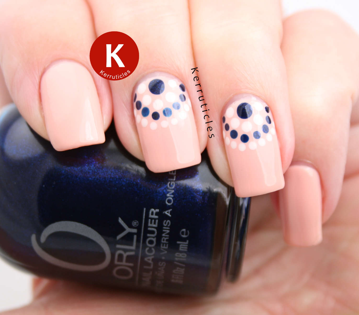 Peach, cream and navy dotted half moons
