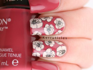 Pink and cream roses. Stamping decals made with Moyra Florality 1 (plate 6).