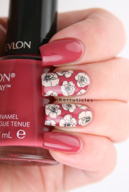 Pink and Cream Roses | Reverse Stamping | Kerruticles