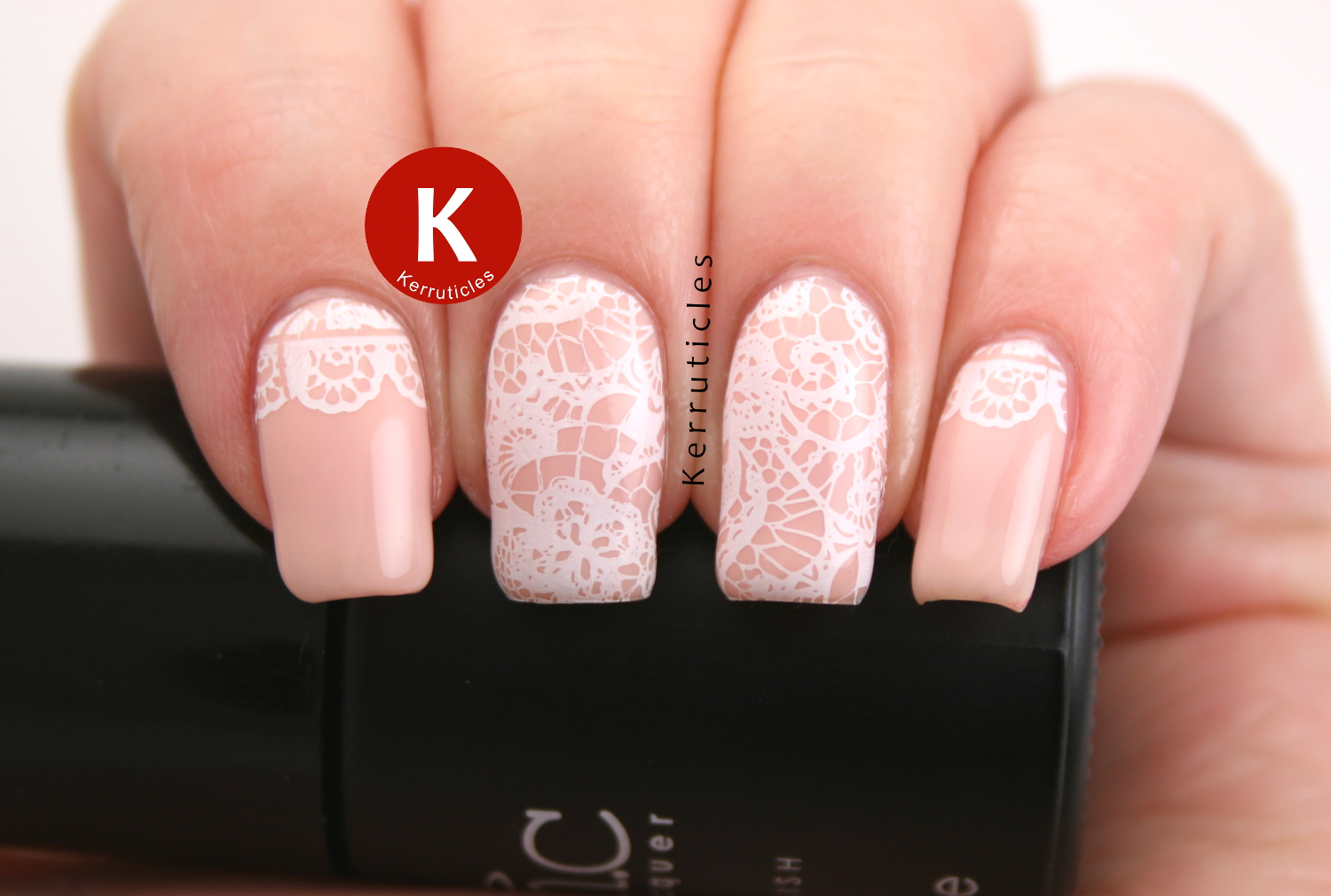 Pale peach with lace stamping