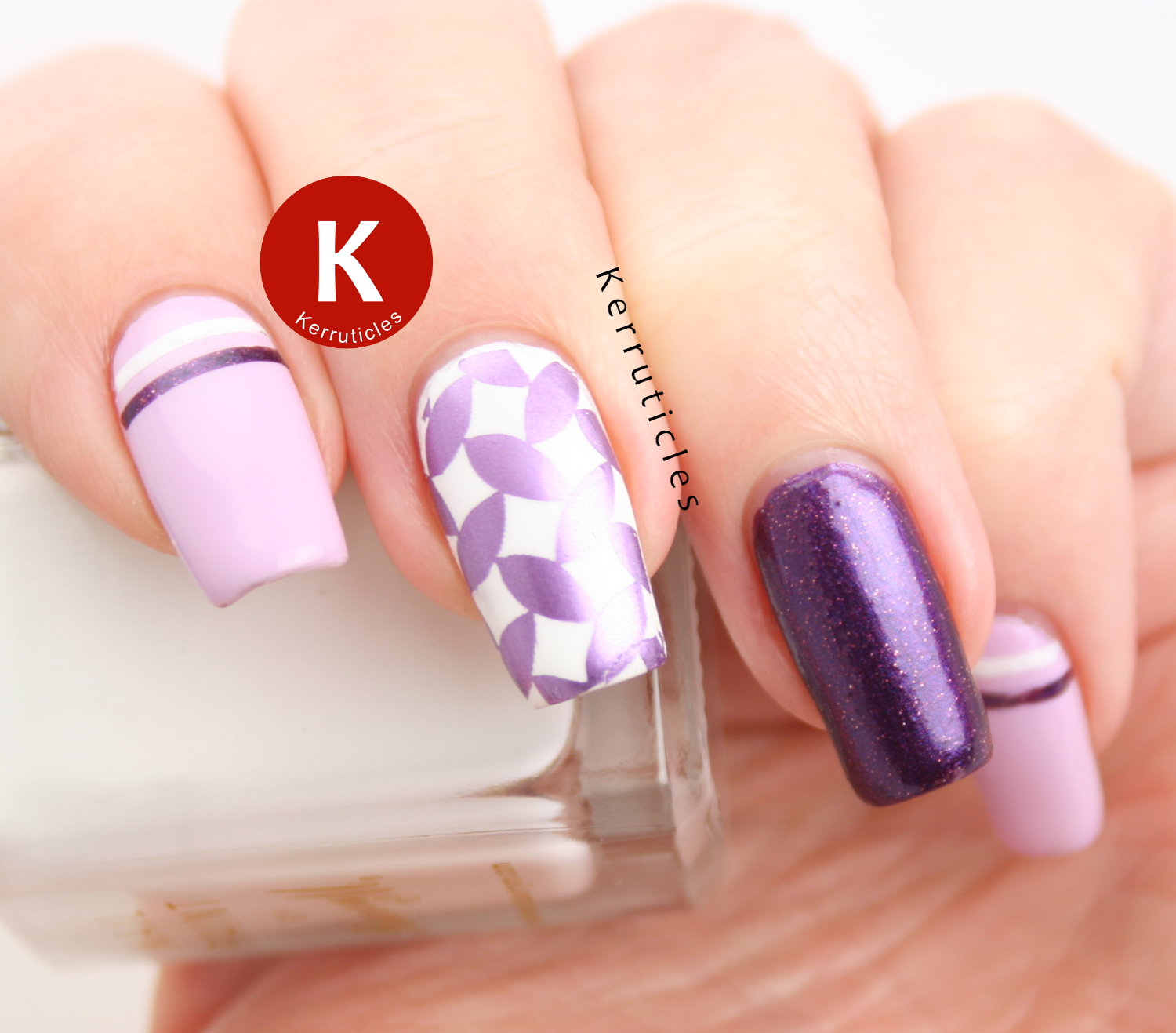 Purple skittlette nails