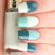 Green half and half nails
