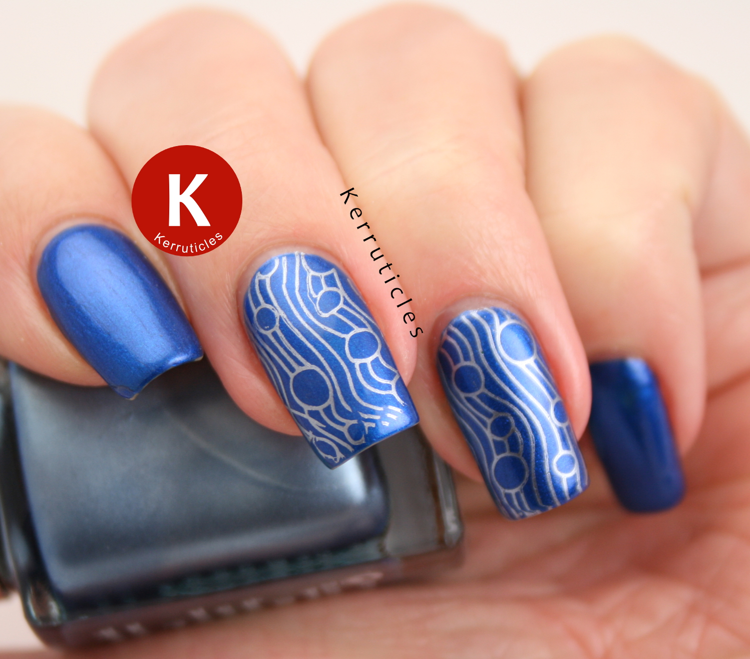 Metallic blue wavy lines