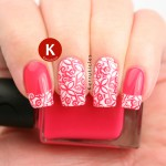Pink and white stamped floral tips