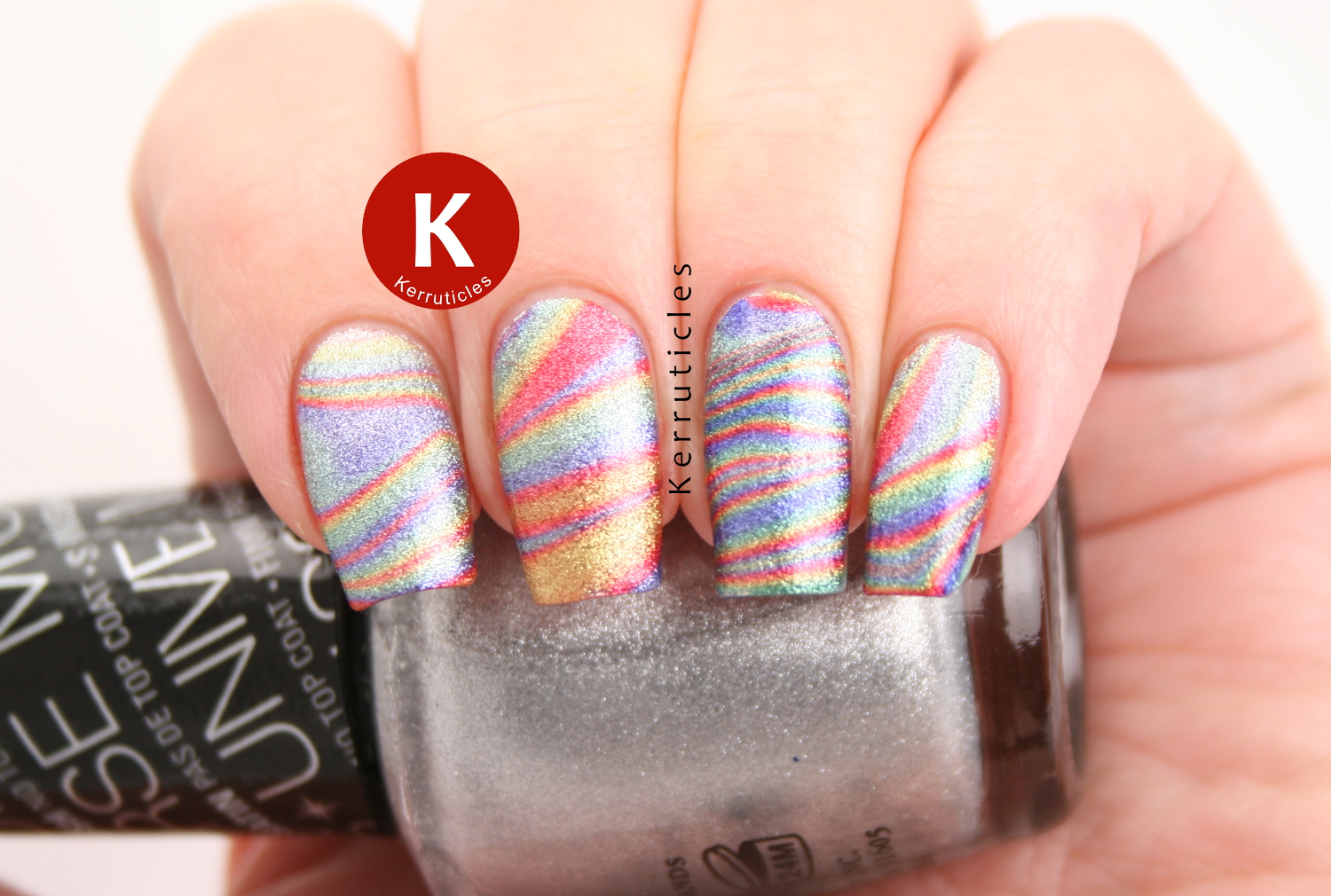 Rainbow water marble using W7 Jelly Bean polishes
