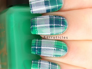 Green, blue white tartan