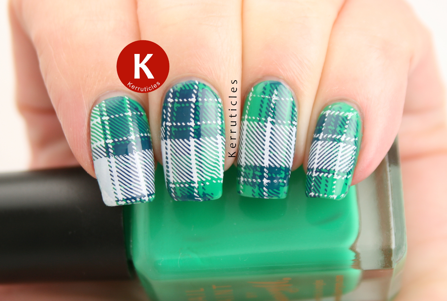 Green, blue white tartan