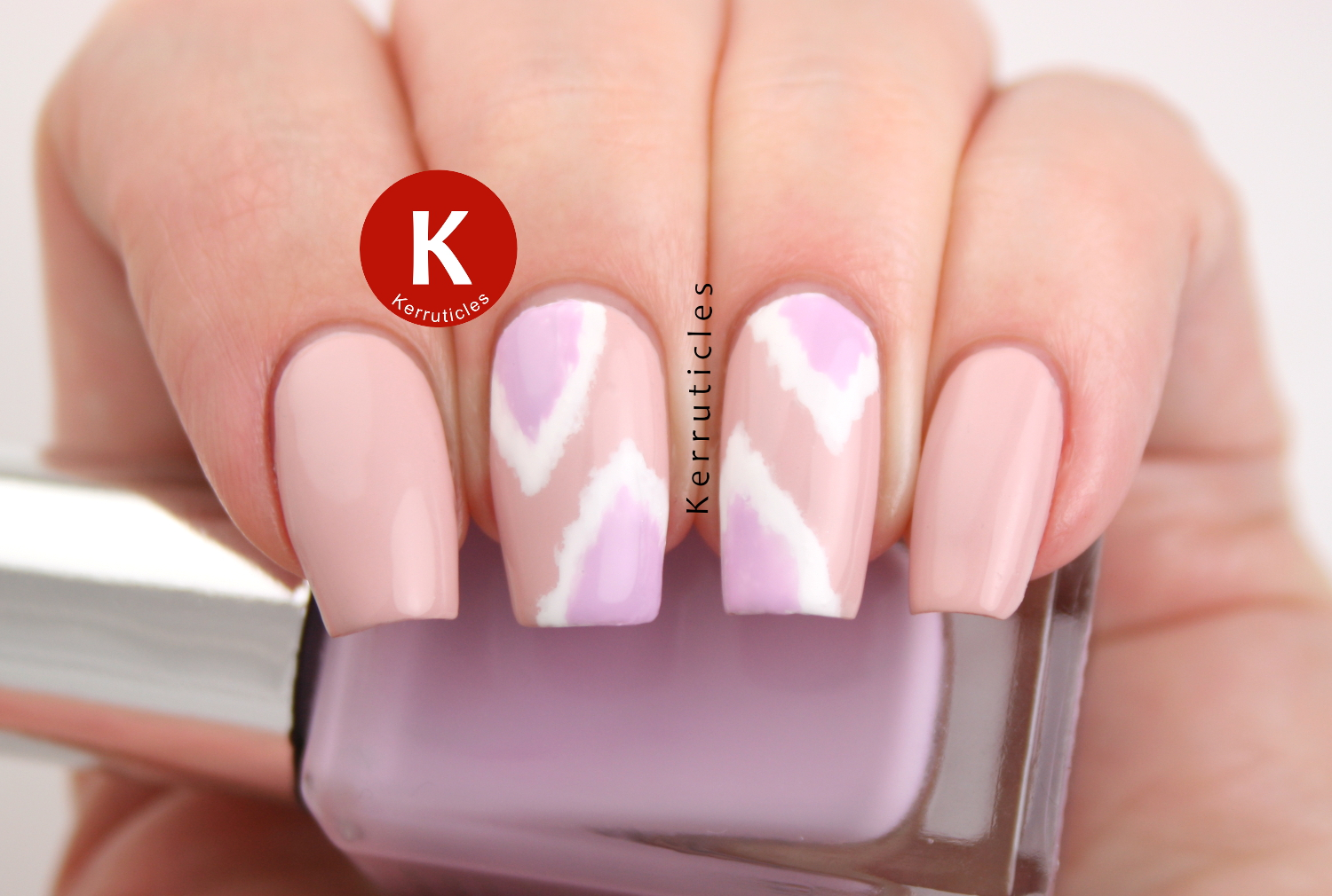 Pink and lilac Ikat nails using Barry M polishes