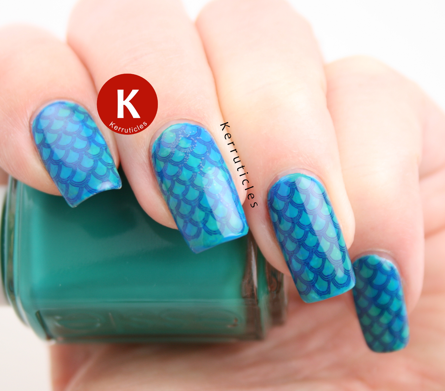 Green and blue mermaid scales
