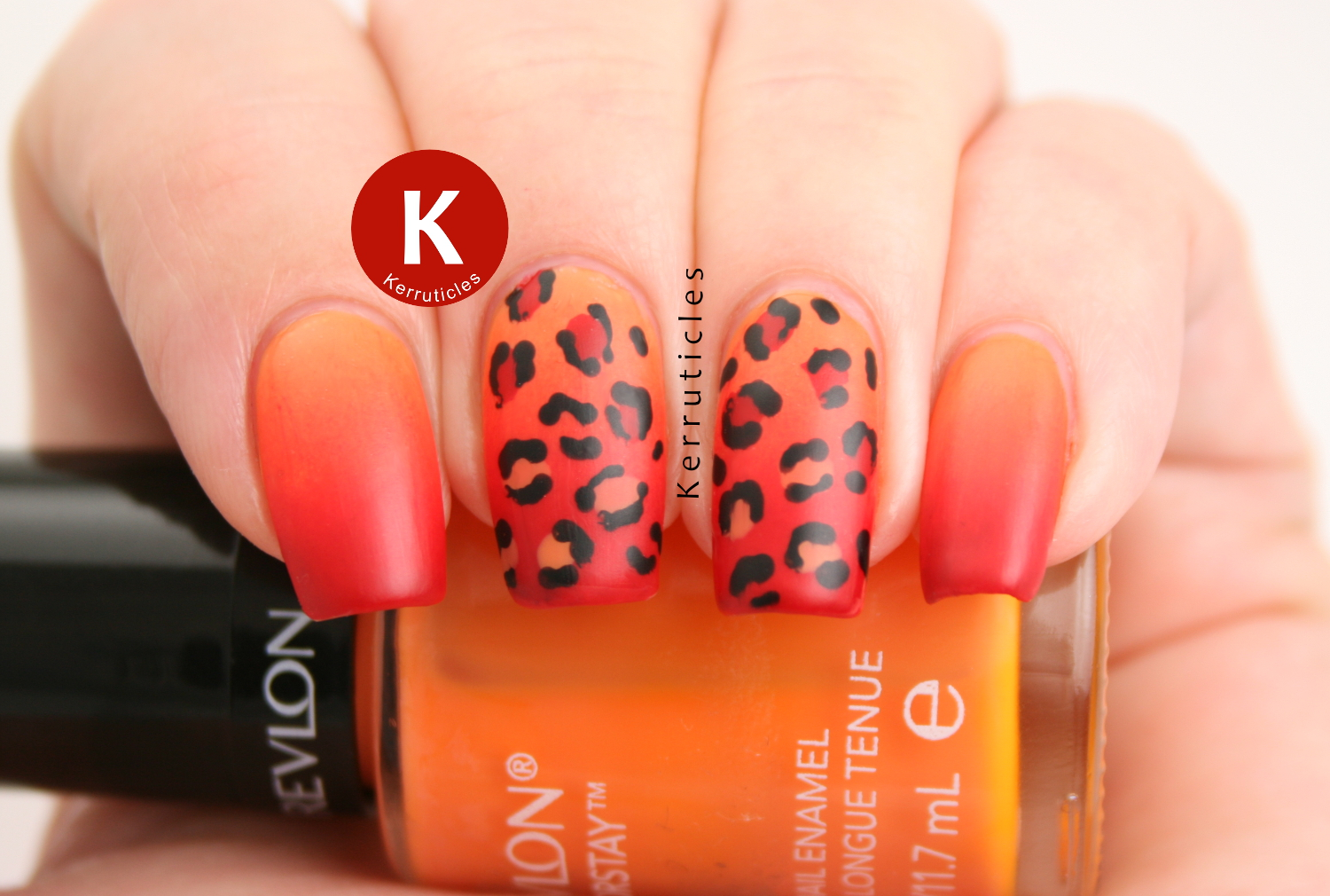 Orange and Red Gradient Leopard Nails | Kerruticles