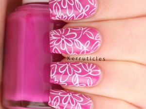 Pink floral using Essie Coacha'Bella and CICI&SISI 31