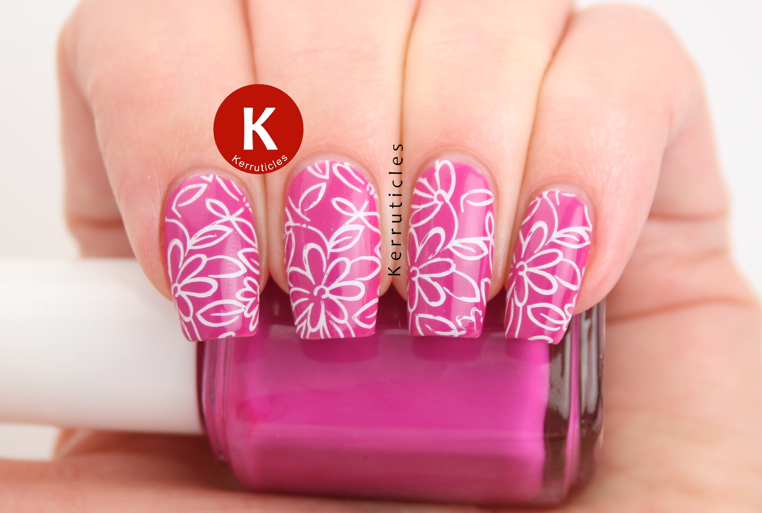 Pink Floral Nails Using Essie Coachabella Kerruticles