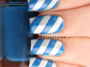 Silver and blue diagonal stripes