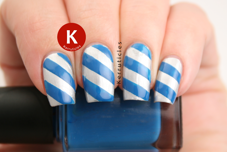 Silver and blue diagonal stripes