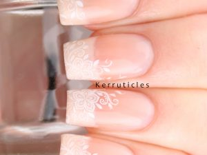 Delicate floral wedding nails