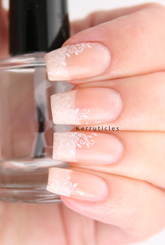 Delicate Floral Wedding Nails | Kerruticles
