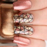 Geometric Molten Metals using ÜberChic Beauty 2-01 and the Barry M Molten Metals polishes
