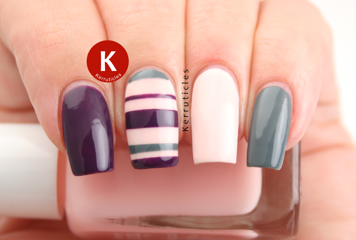 Pink, purple and grey stripes using Diabolical Nail Varnishes from Firebox.com