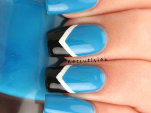 Blue, white and black chevrons