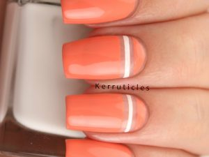 Coral, white and negative space stripes