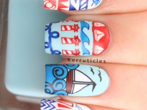 Nautical nails using Bundle Monster Hangloose stamping plates