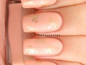 Peach dragonfly nails