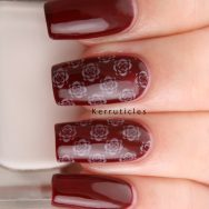 Burgundy with cream roses