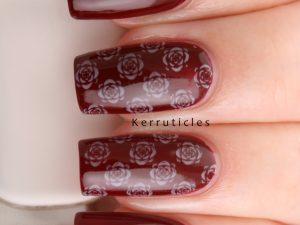 Burgundy with cream roses
