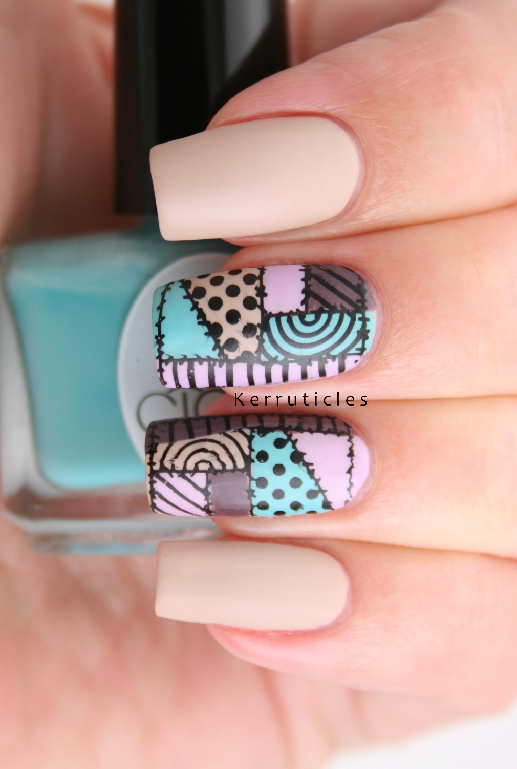 Patchwork Nails | 40 Great Nail Art Ideas | Kerruticles