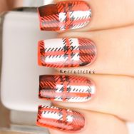 Black, white and orange tartan nails