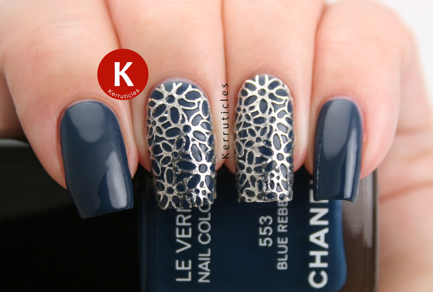 Blue And Silver Filigree Nails 26 Great Nail Art Ideas Kerruticles