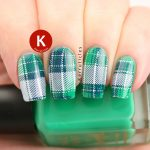 Green, blue and white tartan
