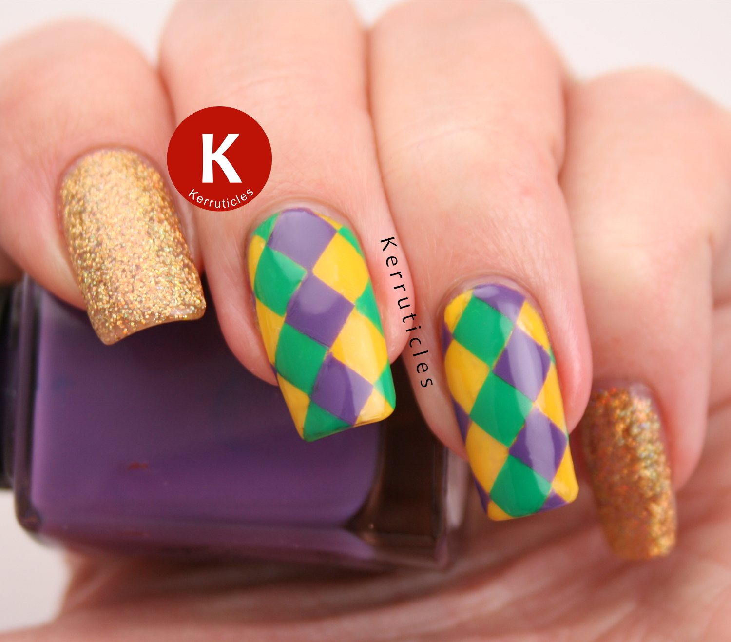 Mardi Gras nails | Kerruticles