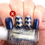Navy and gold zig zags