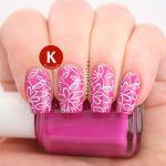 Pink floral stamping
