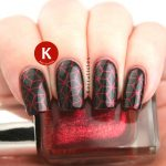 Red and black geometric stamping