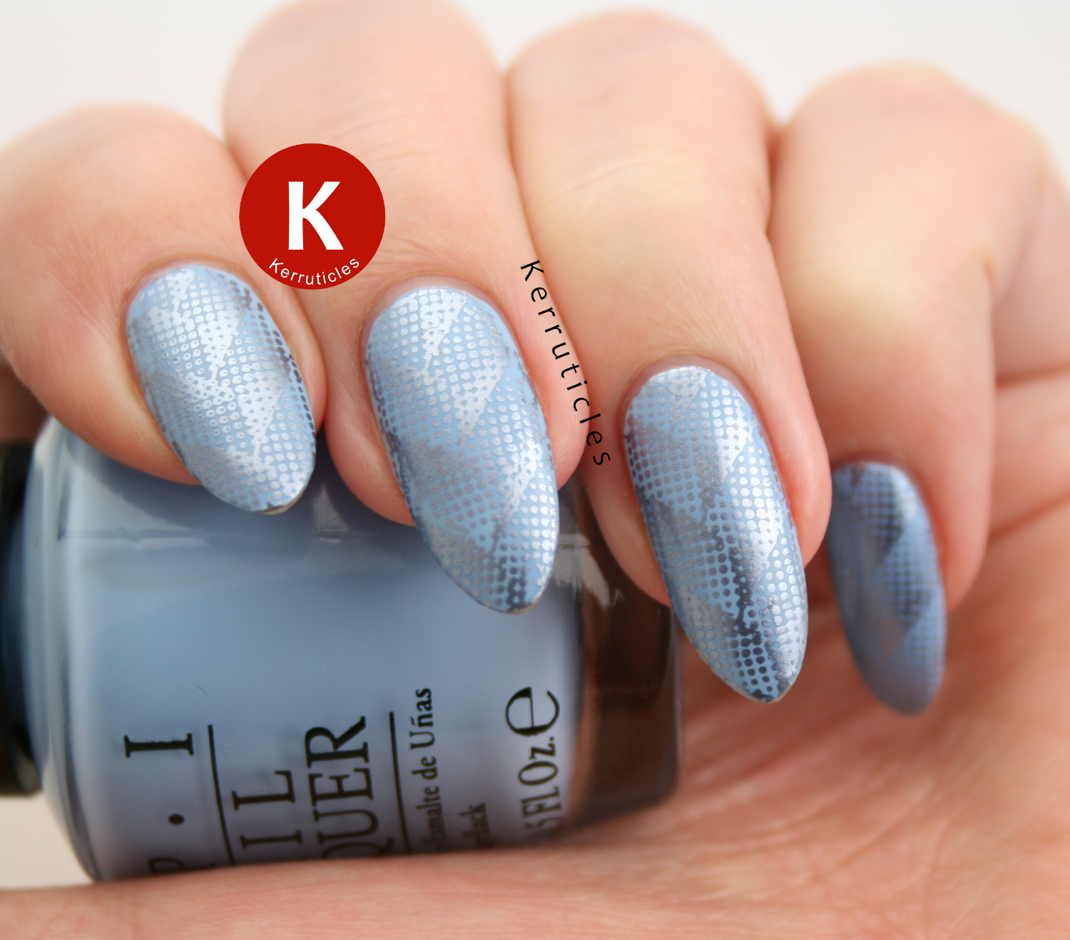 Blue herringbone stamping, using OPI The I's Have It and Bundle Monster BM-XL212
