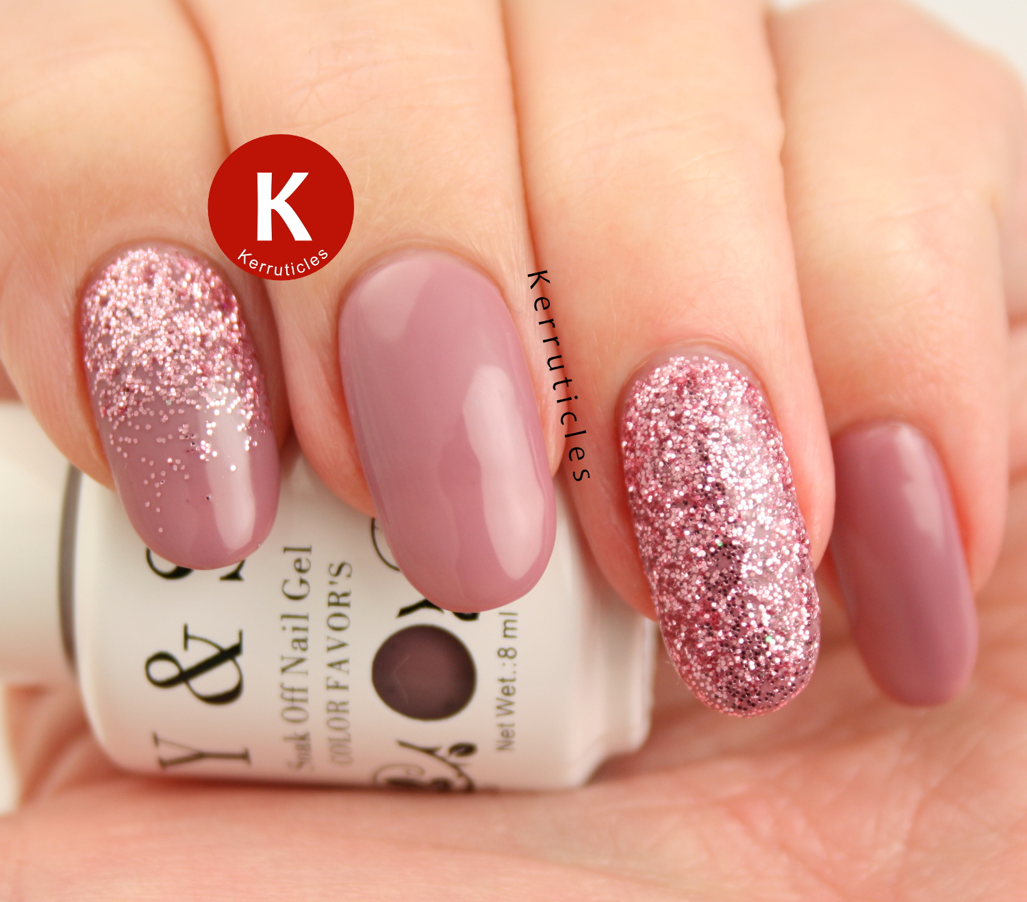 Dusky pink gel with glitter