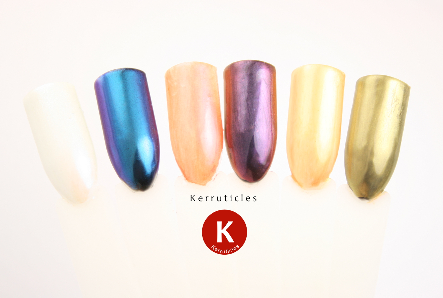 Sensationail chrome powders over white and black: blue, rose, and gold